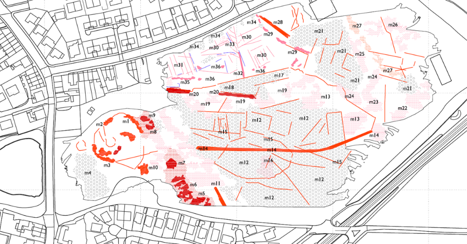 map of site with possible archaeological features marked in red